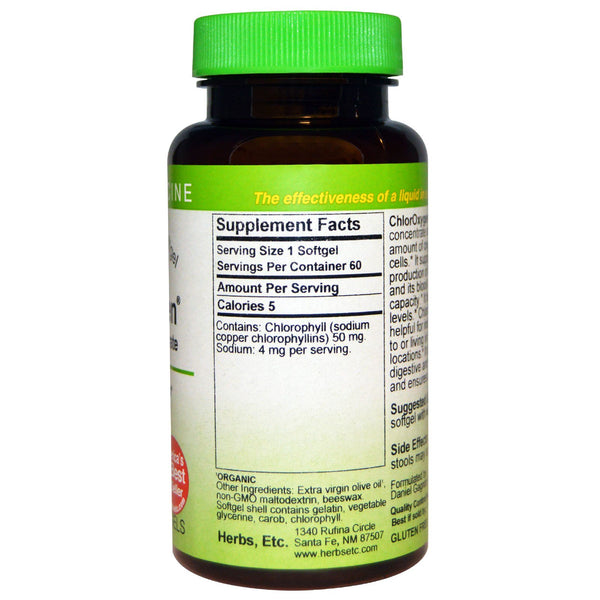 Herbs Etc., ChlorOxygen, Chlorophyll Concentrate, 60 Fast-Acting Softgels - The Supplement Shop