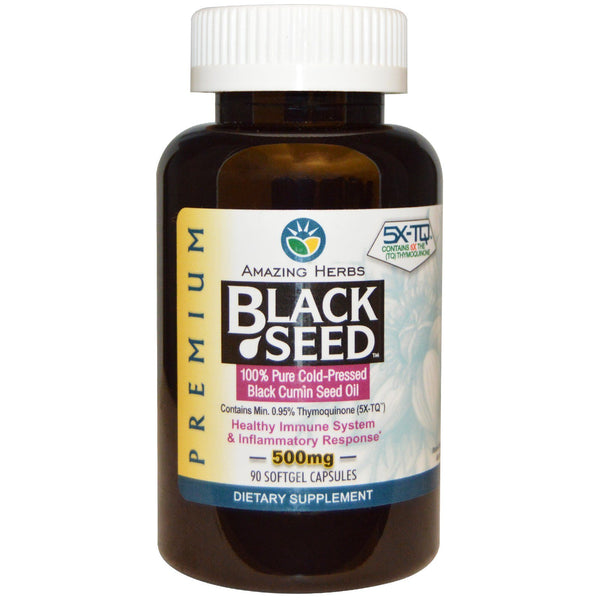 Amazing Herbs, Black Seed, 500 mg, 90 Softgel Capsules - The Supplement Shop