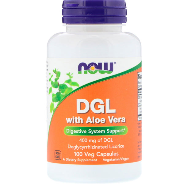 Now Foods, DGL with Aloe Vera, 400 mg, 100 Veg Capsules