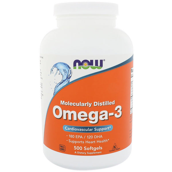 Now Foods, Omega-3, 180 EPA/120 DHA, 500 Softgels - The Supplement Shop