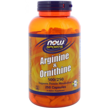 Now Foods, Sports, Arginine & Ornithine, 500 mg /250 mg, 250 Capsules