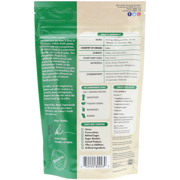 MRM, Raw Organic Moringa Powder, 8.5 oz (240 g)