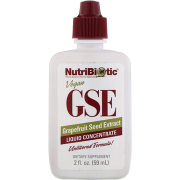 NutriBiotic, Vegan GSE Grapefruit Seed Extract, Liquid Concentrate, 2 fl oz (59 ml)