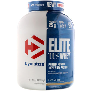 Dymatize Nutrition, Elite, 100% Whey Protein Powder, Cafe Mocha, 5 lbs (2.27 kg)
