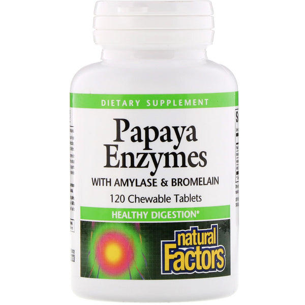 Natural Factors, Papaya Enzymes with Amylase & Bromelain, 120 Chewable Tablets