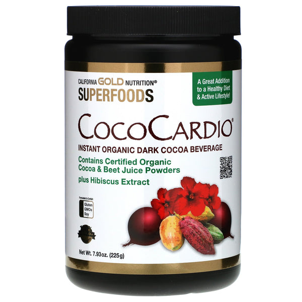 California Gold Nutrition, CocoCardio, Certified Organic Instant Dark Cocoa Beverage with Beet Juice & Hibiscus, 7.93 oz. (225 g)