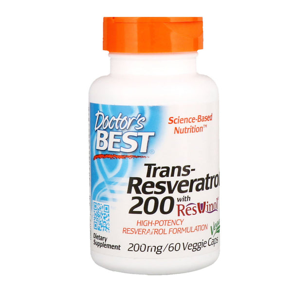 Doctor's Best, Trans-Resveratrol 200 with Resvinol, 200 mg, 60 Veggie Caps - The Supplement Shop