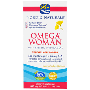 Nordic Naturals, Omega Woman with Evening Primrose Oil, 830 mg, 120 Soft Gels