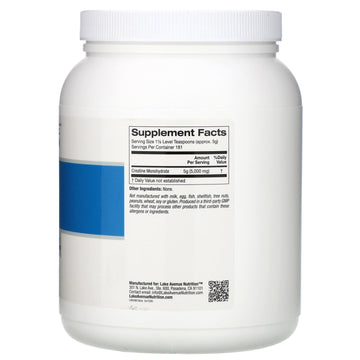 Lake Avenue Nutrition, Creatine Powder, Unflavored, 5,000 mg, 2 lb (907 g)