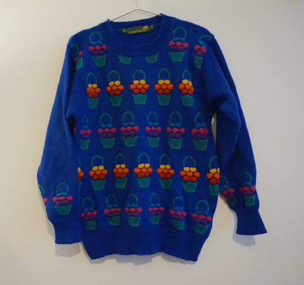 Flower Basket Blue 80s Jumper