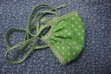 Vintage green and white polka dot 100% cotton reusable face mask- tie straps