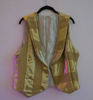 Reworked vintage fabric gold striped waistcoat