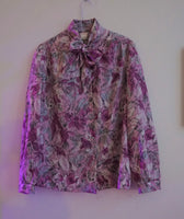 80s pinks and purples pussy bow blouse