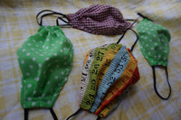 Vintage green and white polka dot 100% cotton reusable face mask- elastic straps