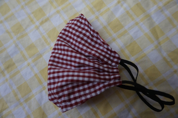 Vintage red gingham 100% cotton reusable face mask- elastic straps