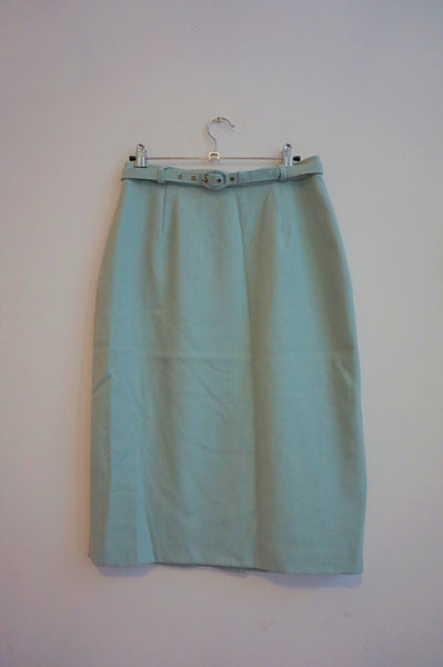 Wool Mint Pencil Skirt