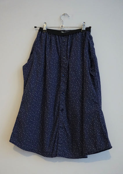 Speckled button up elasticated waist skirt