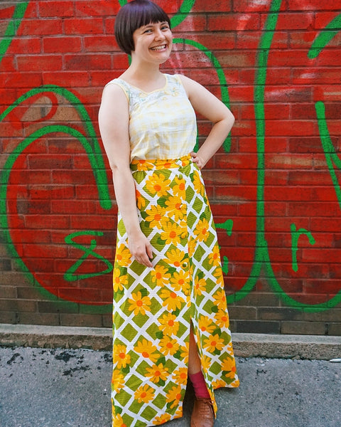 70s Floral A Line Maxi Skirt