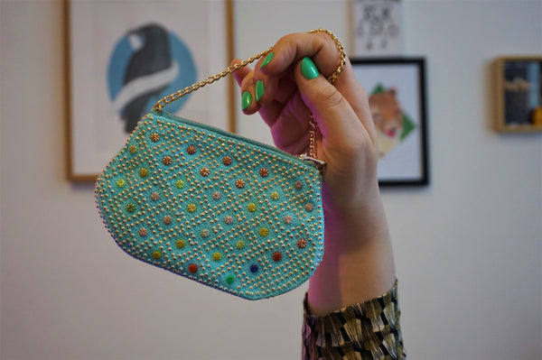 Tiny Blue Bead Bag with Gold Chain