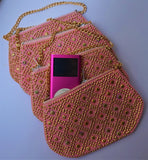 Tiny Pink Bead Bag with Gold Chain