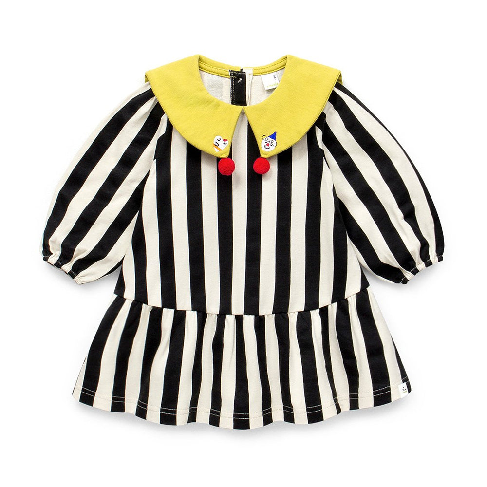Girls Awning Stripe Pleated Dress