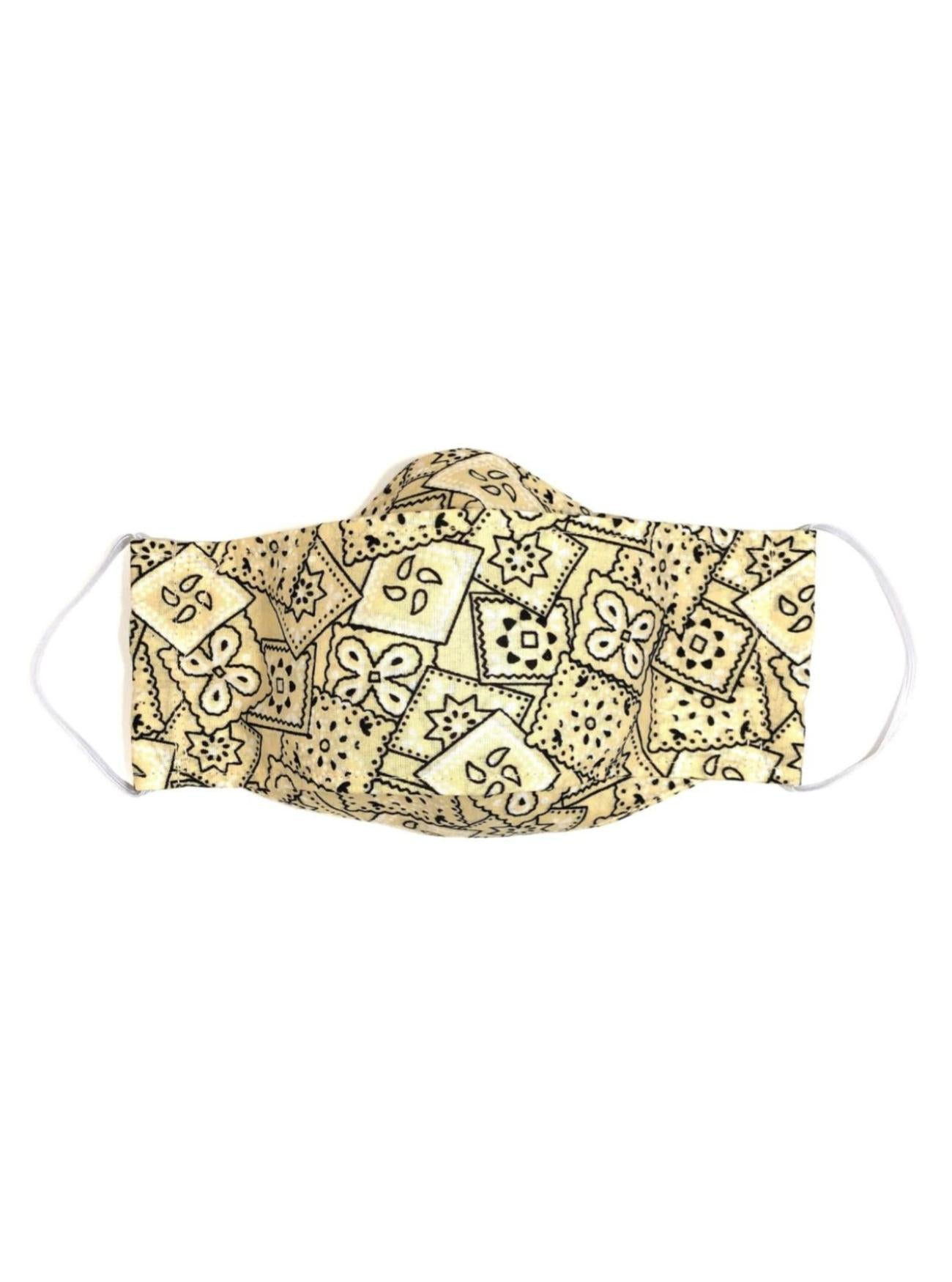 Yellow Bandana, Child's Reusable Face Mask [3-layers]