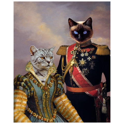 A royal portrait of two pets in costume