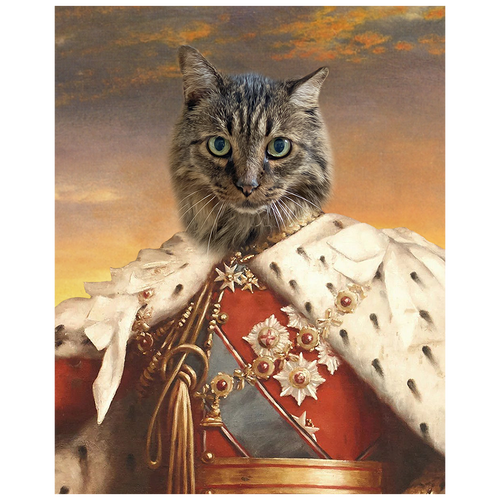 A royal portrait of a pet in costume