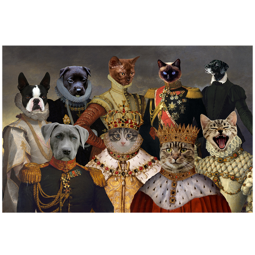 A royal portrait of nine pets in costume