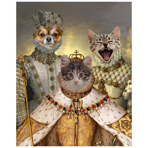 A royal portrait of three pets in costume