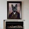 A royal custom dog portrait displayed on top of a fireplace