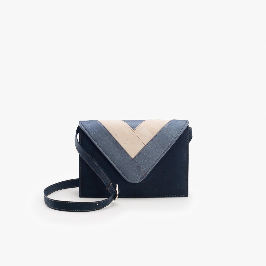 Blue Triangle Crossbody Bag - Cork Element
