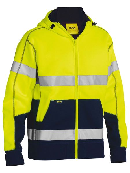 Bisley Taped Hi Vis Fleece Hoodie With Sherpa Lining