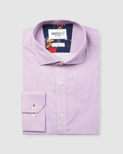 Brooksfield Career Micro Square Print Shirt (4498822693001)