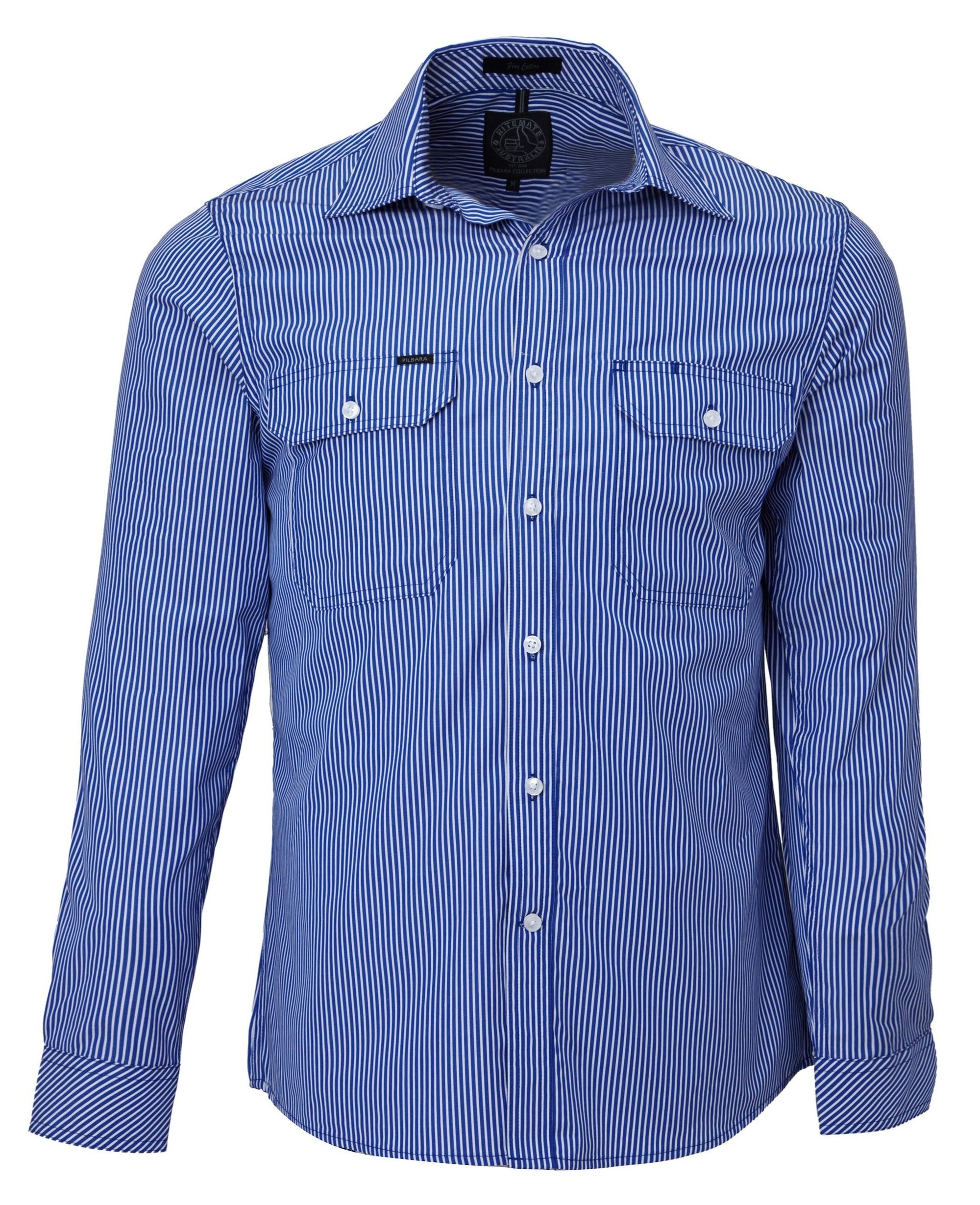 Ritemate Pilbara Stripe Double Pocket Shirt (4498138267785)