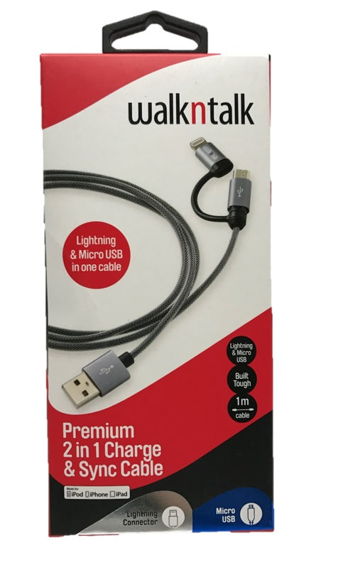 WalknTalk Premium 2in1 Charge & Sync Cable (4498299322505)