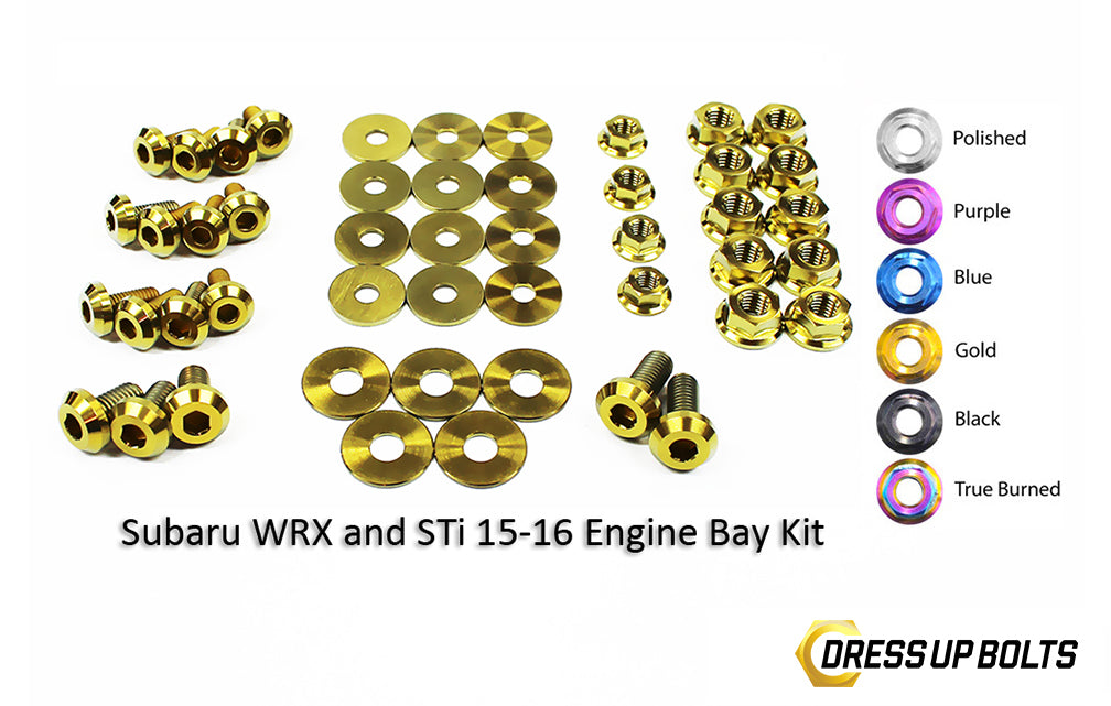 Engine Bay Dress Up Bolt Kit For 2015-7 WRX | Titanium Bolt Kit