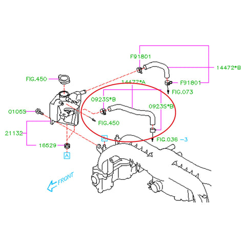 Subaru Bypass To Expansion Tank Hose 2008 2014 Wrx