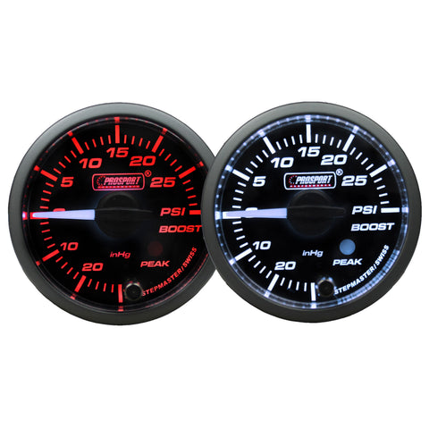 Prosport 52mm Premium Series White Pointer Gauges