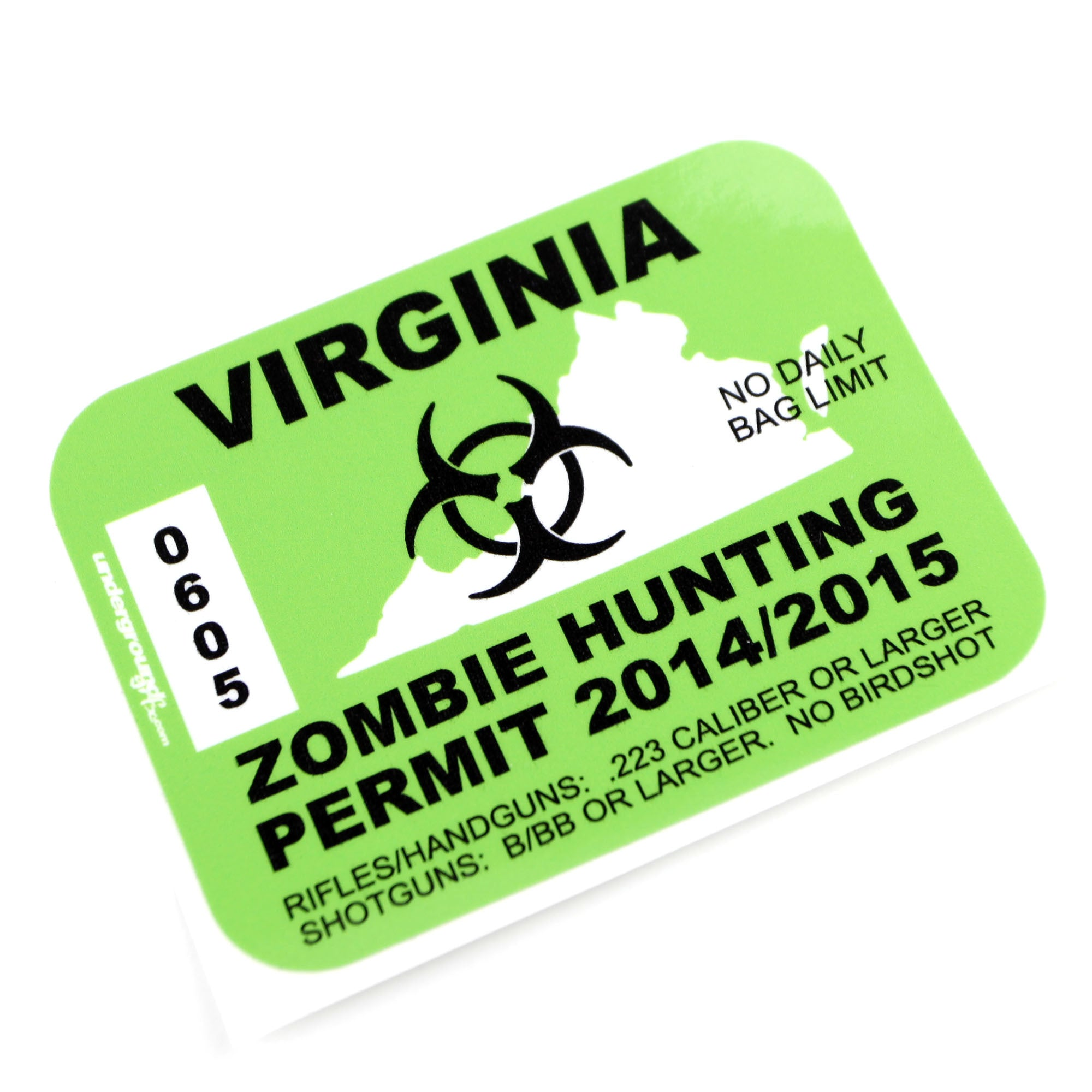Zombie hunting license decal for Fishing license ms