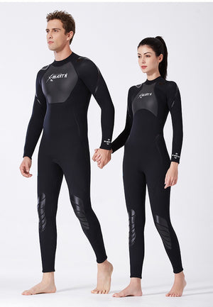 3mm wetsuit men one-piece long-sleeved thicker thermal swimsuit snorkeling surfing jellyfish suit