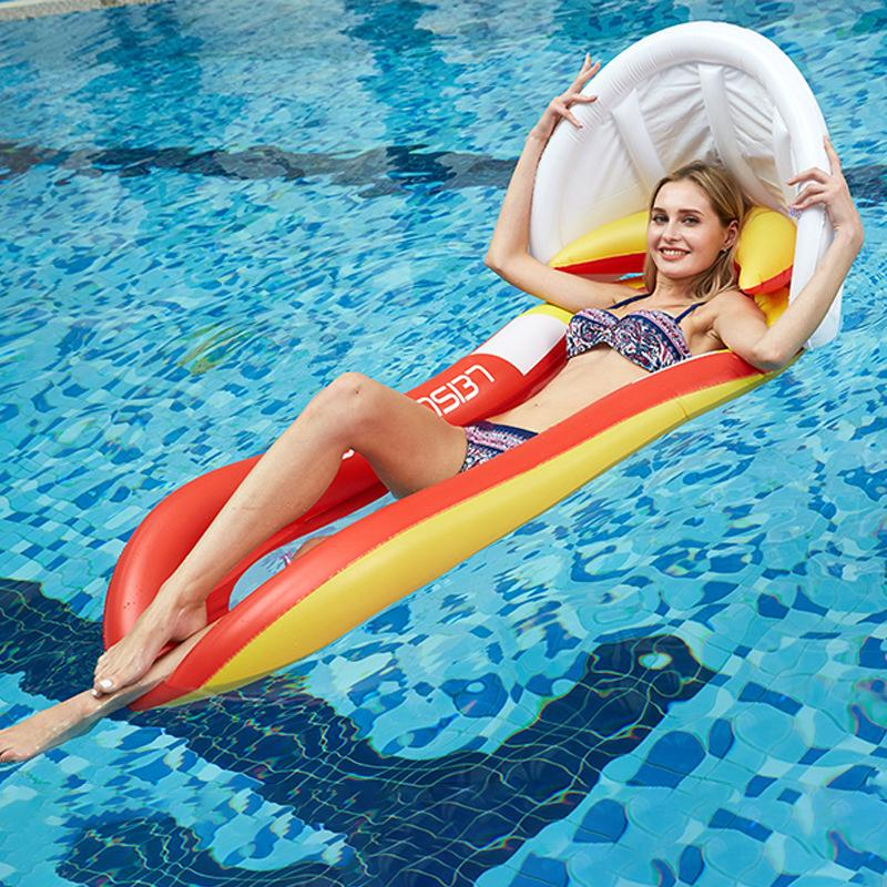 Pool Float Inflatable Water Hammock with Sunshade Canopy