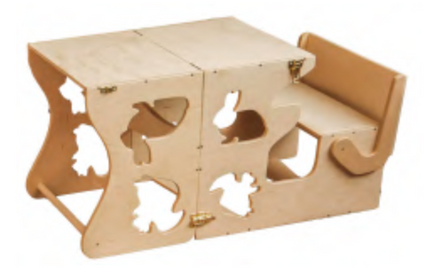 Image of Tour d'Observation Montessori et Table 2-en-1 - Woodland Wood and Hearts- Coco & Minou