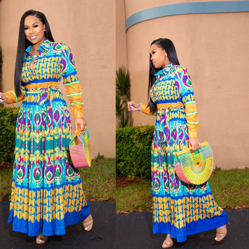 African Pleated Print Dress