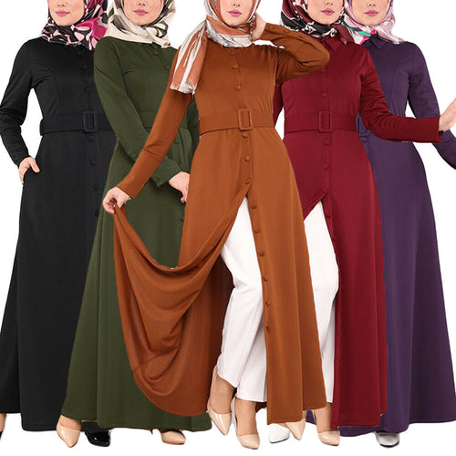 Belted Button-down Abaya