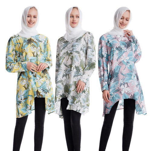 Floral Long Sleeve Muslim Top