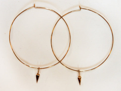 Large Gold Hoops with Point