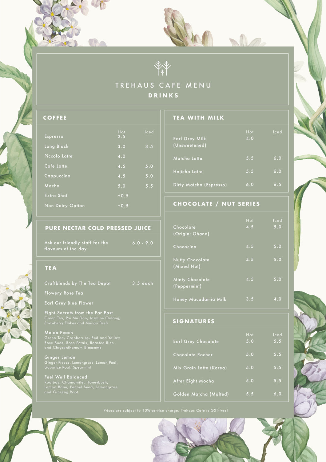 Trehaus Cafe drinks menu