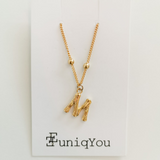 16K Bamboo Initial Necklace
