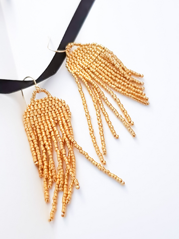 Medusa Jellyfish Tassel Earrings | 24k Gold